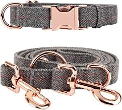 KUYOUGOU Heavy Duty Dog Collar and Leash (6.6'), Stylish Design with Rose Gold Set, 3 Adjustable Lengths, for Small to Large Dogs
