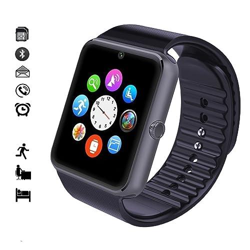 Montre Connectée Bluetooth, MallTEK Smart Watch 1.54'' Pouces LCD Ecran Tactile Smart Watch Multi-languages Smart Watch avec SIM Carte Slot Montre Connectée avec Pédomètre
