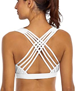 YIANNA Sports Bras for Women - Strappy Sports Bra Padded for Yoga, Running, Fitness - Athletic Gym Tops