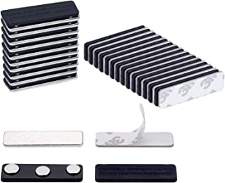 SUNYUDUN 25 Sets Name Badge Magnets, Magnetic Name Badge Holders Back with 3 Premium Strength Neodymium Magnets (Black)