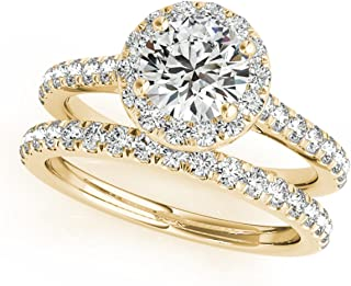 0.75 Carat Halo Round Cut Antique Diamond Bridal Ring and Band Set for Women | 14K Solid White Rose Yellow Gold