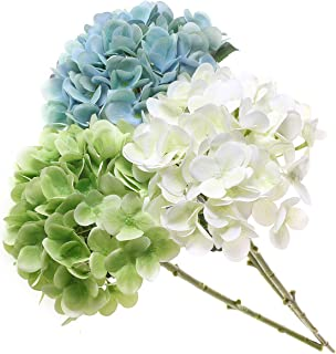 T4U 3 Heads Artificial Silk Hydrangea Flowers Fake Flowers Faux Flowers Bouquet for Flowers Arrangement Wedding Bouquet Table Centerpieces Home Garden Party Decoration (Blue+White+Green)