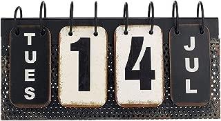 Verdant Calendar Decor Vintage Perpetual Desk Calendar Metal Reproduction 10-3/4-in