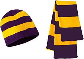 Knit Collegiate Rugby Stripe Winter Scarf & Beanie Hat Set - Assorted Colors