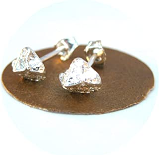 rough cut diamond studs