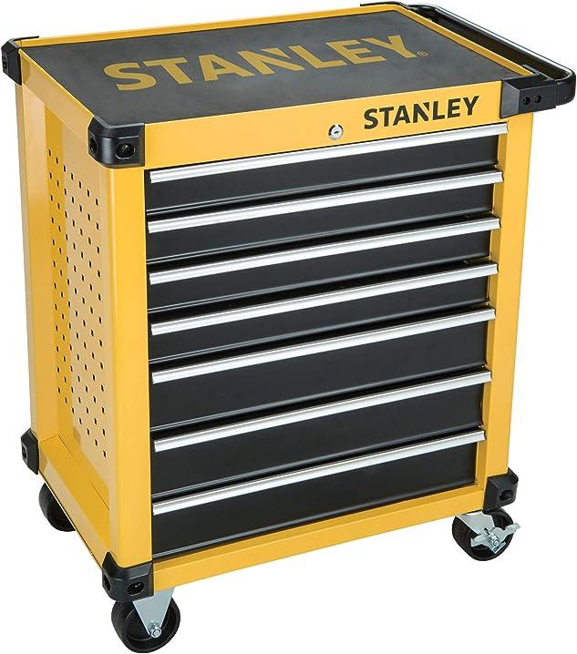 Carrello da officina a 7 cassetti, nero/giallo, taglia unica stanley stmt1-7430 STMT1-74306