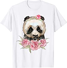 Cute baby panda bear in flowers illustration T-Shirt