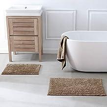 ELBASMT Silky Chenille Bath Rug Non Slip Long Large Bath Mats for Bathroom Extra Soft and Absorbent Shaggy Bathroom Rugs M...