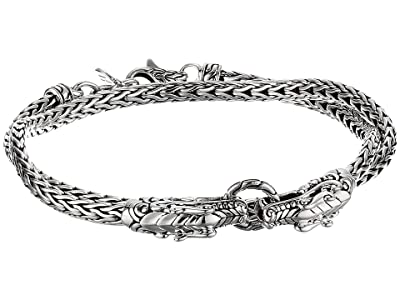 John Hardy Legends Double Wrap Double Dragon Head Slim Chain Bracelet with Lobster Clasp (Sterling Silver) Bracelet