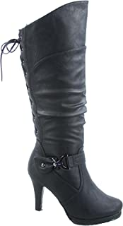 1d8470f1b32 Top Moda Womens Page-65 Knee High Round Toe Lace-Up Slouched High Heel