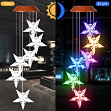 xxschy LED Solar Star Wind Chimes Outdoor - Waterproof LED Changing Light Color Wind Chime, Six Stars Wind Chimes for Home, Party, Night Garden Decoration