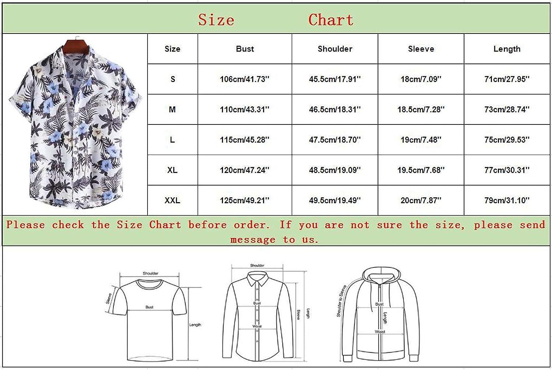Men's Hawaiian Shirt Casual Short Sleeve Button Down Tops Summer Printed Beach Shirts Blouse