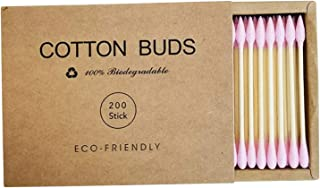 yotijar 200 Counts Bamboo Cotton Swabs Double Tipped Ear Cleaning Tool Makeup Applicator s Swab - Pink