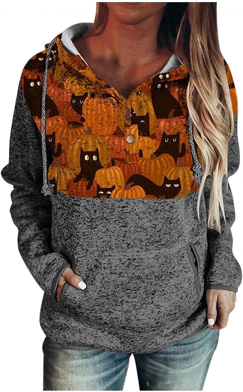 ONHUON Hoodies for Women,Women's Halloween Color Block Tops Long Sleeve Drawstring Button Hooded Pullover Sweatshirts