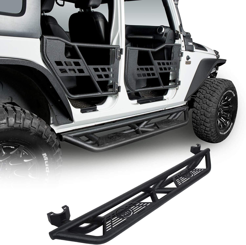 Hooke Road Wrangler JK Running Boards Drop Side Steps Nerf Bars Compatible with Jeep Wrangler JK Unlimited 4 Door 2007-2018