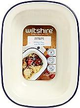 Wiltshire Enamel Oblong Pie Dish 1L Blue Rim