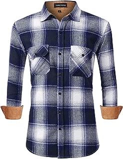 Yong Horse Men's Plaid Dress Shirts Flannel Shirts Long Sleeve Button Down Shirt