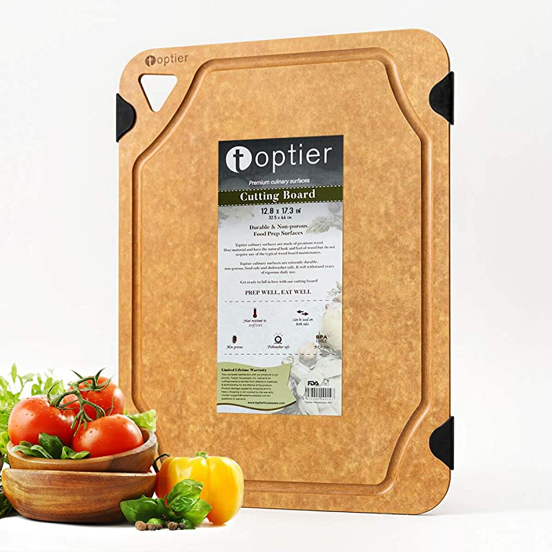 Cutting Board TOPTIER Wood Fiber Cutting Board For Kitchen BPA Free Dishwasher Safe Reversible Juice Grooves Eco Friendly Non Porous Natural Large Cutting Board 17 5 X 13 Inch Natural Slate