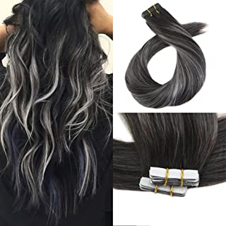 Moresoo 14 Inch Tape in Human Hair Remy Hair Extensions Tape on 100g/40pcs Balayage Color Off Black Ombre to Silver Grey Human Hair 40PCS Full Head Set Tape in Extensions Adhesive