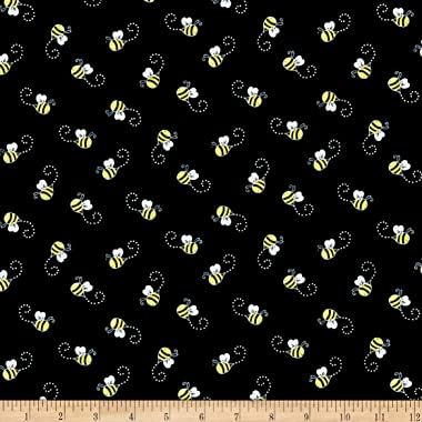 Timeless Treasures You Are My Sunshine Bees Black, Quilting Fabric by the Yard