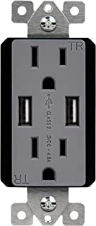 TOPGREENER 4.8A USB Charger Outlet Receptacle, 15A Tamper-Resistant Duplex Receptacle, TU21548A, Gray