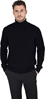 Men's Essential Knit Turtleneck Sweater Cashmere Wool Long Sleeve Roll Neck Pullover