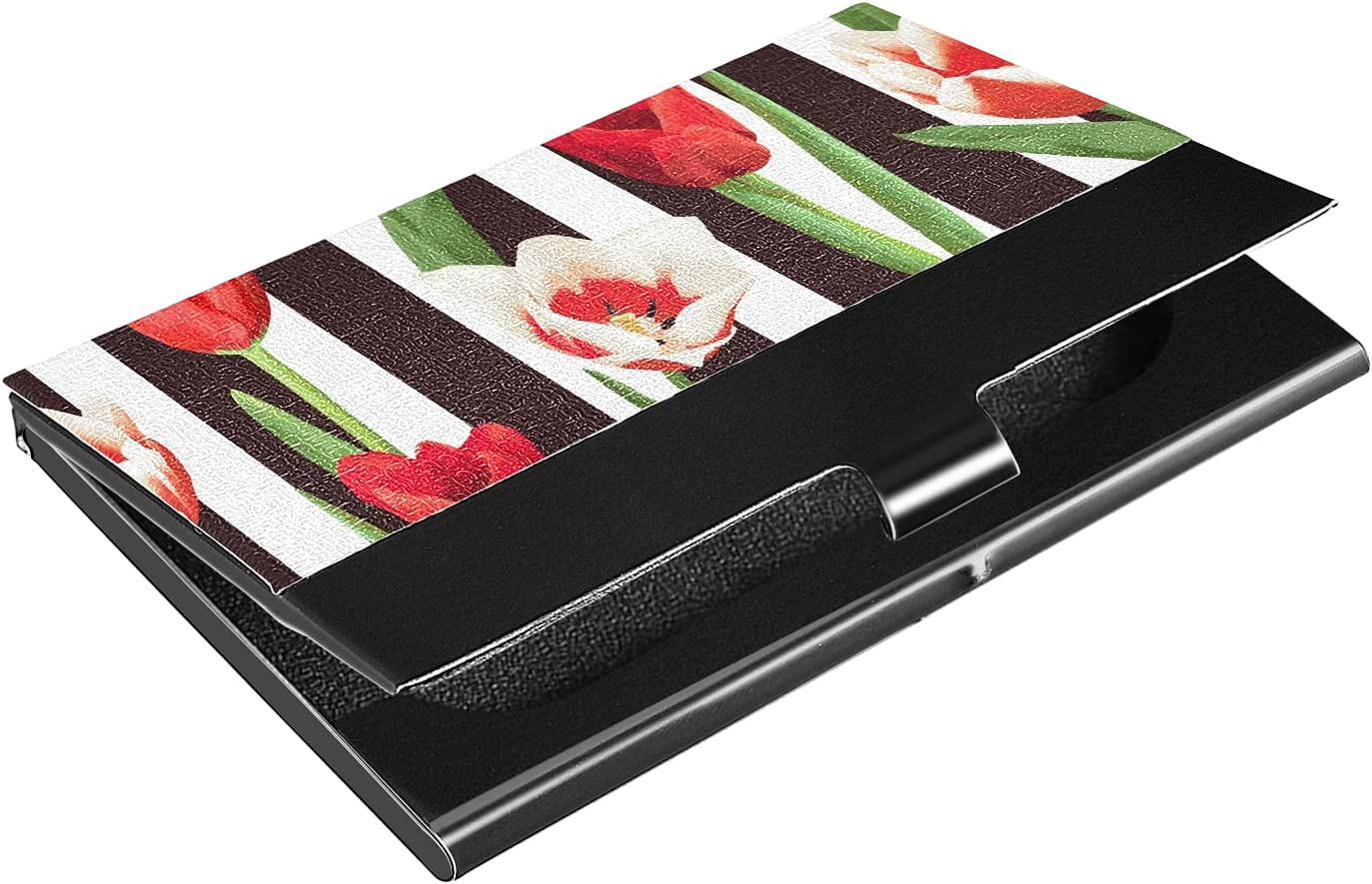 OTVEE Red and White Tulips Business Card Holder Wallet Stainless Steel & Leather Pocket Business Card Case Organizer Slim Name Card ID Card Holders Credit Card Wallet Carrier Purse for Women Men
