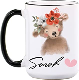 Bear Mug – Personalized 15 oz or 11 oz Large Ceramic Cups - Bear Mugs for Dad – Bear Gifts for Parents – Cute Bear Coffee Mug – Bear Cup – Animal Cups – Dishwasher & Microwave Safe – Made In USA