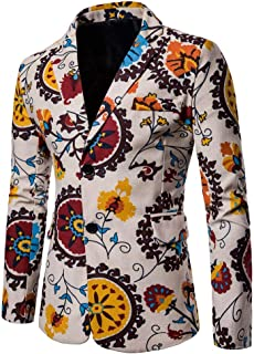 Mens Suit Jacket Floral Printed Two Button Casual Blazer Sports Coat Slim Fit Dinner Tuxedo Party Wedding Prom Dress