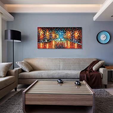 Alenoss Hand-Painted Modern 3D Oil Painting on Canvas 24x48 inch Romantic Couples Rainy Night Walk Paintings Abstract Canvas