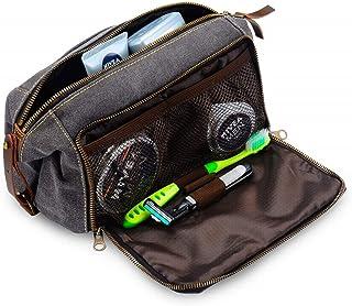 Habitoux -DOPP Kit Mens Toiletry Travel Bag YKK Zipper Canvas & Leather (Medium, Grey)