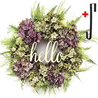 Hydrangea wreaths for front door,Outdoor summer wreaths for front door,Fall spring handmade Hello Wreath for Front Door,Farmhouse Wreath ,Rustic Wreath,Grapevine Wreath,Window Decoration (21 inches)