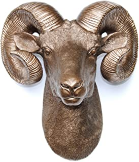 Near and Deer Faux Ram Head ((Bighorn Sheep) Wall Hanging, Bronze