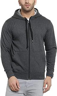 Scott International Men's Rich Cotton Pullover Hoodie Sweatshirt with Zip (1.1_sshz12_M, Charcoal)