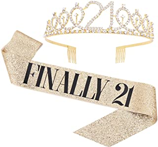 """Finally 21"" Sash & Rhinestone Tiara Set - 21st Birthday Gifts Birthday Sash for Women Fun Party Favors Birthday Party Supplies (Gold Glitter with Black Lettering)"