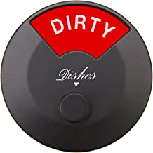 Dishwasher Magnet Clean Dirty Sign, Round and Rotating Design, Non-Scratching Magnet and 3M Adhesive Stickers, Perfect Kit...
