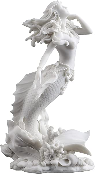 Beautiful Mermaid Rising From Sea Statue Sculpture Figurine