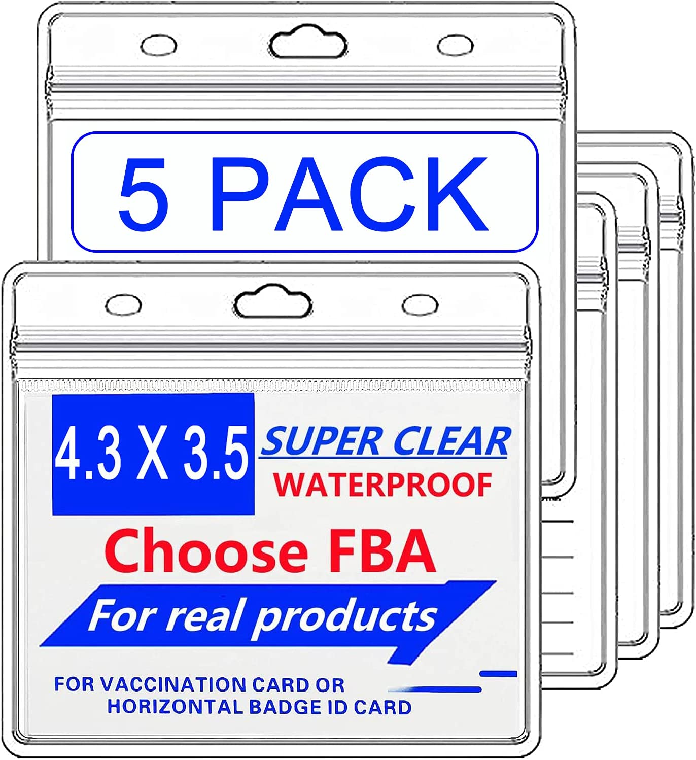CDC Vaccination Card Protector 4.3X 3.5Inches Immunization Record Vaccine Cards Holder Clear Plastic Sleeve with Waterproof Type Resealable Zip (5Pack)