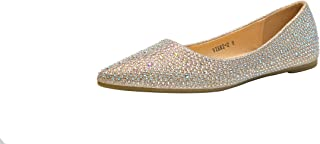 Mila Lady Sparkly Crystals Rhinestone Comfortable Slip On Point Toe Ballet Flat Shoes for Women Wedding Party Office