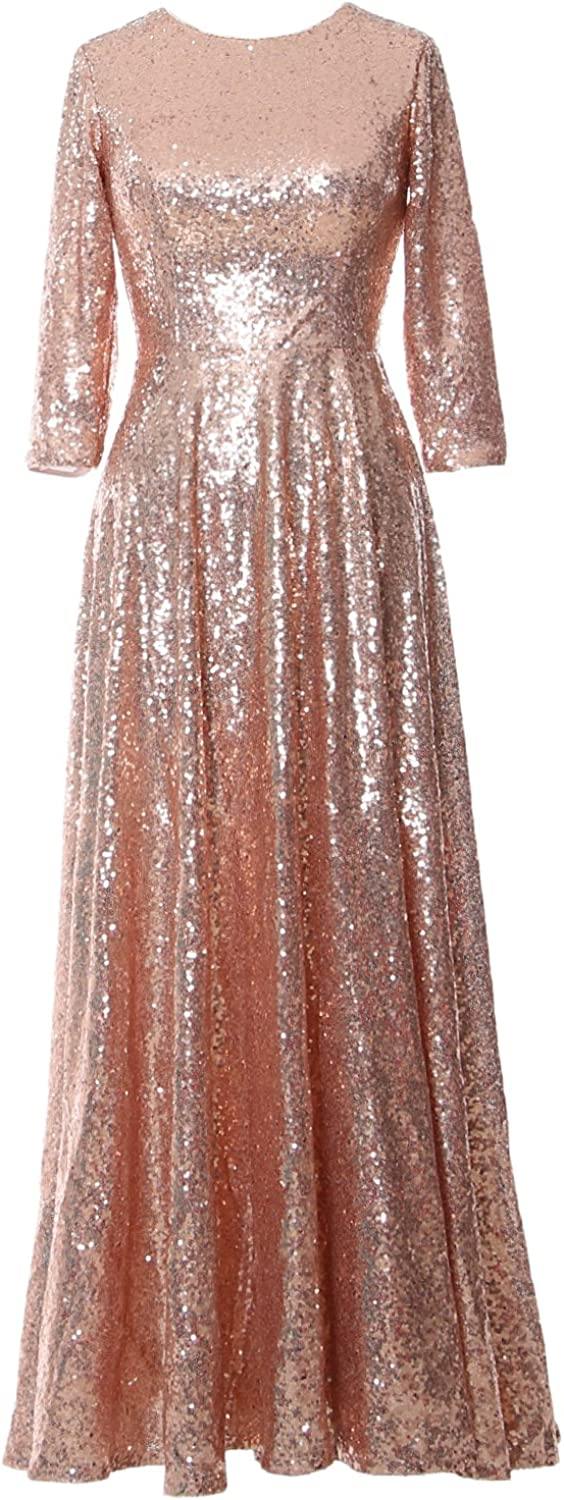 MACloth Mother of Bride Long Dresses 3/4 Sleeves Sequin Evening Gown Wedding