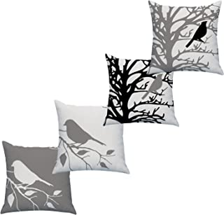 LAZAMYASA Square Cartoon Bird Printed Cushion Cover Cotton Throw Pillow Case Sham Slipover Pillowslip Pillowcase for Home Sofa Couch Chair Back Seat,4PCS,Grey,18x18in