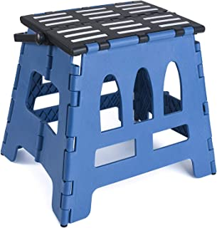 Acko Folding Step Stool Child Step Stool with Handle for Adults and Kids Kitchen and Garden Step Stool Black Matching Blue Color