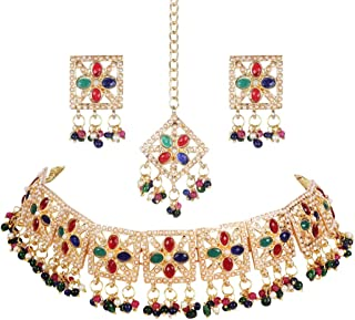 Crunchy Fashion Bollywood Style Traditional Indian Wedding Jewelry Green-Red peal Choker Necklace with Earring & tika Set ...
