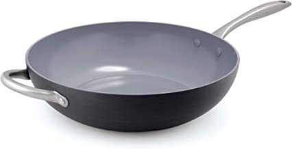 "GreenPan Lima 12.5"" Ceramic Non-Stick Open Wok with Helper Handle Black"
