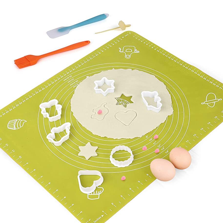Silicone Baking Mats Pastry Mat - with Measurements BPA Free, Heat Resistant, Non Stick Pastry Board Rolling Dough Silicone Mat for Baking Bread Pizza Cookie Pie