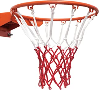 LEADTEAM Basketball Net-Replacement Indoor Basketball Net and Outdoor Basketball Net,Fits All Standard Hoops,All Weather Anti Whip,12 Loops,Red/White