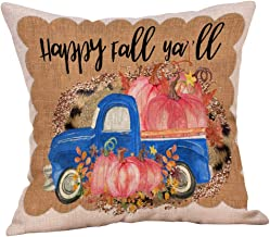 charmsamx Fall Pumpkin Harvest Decorative Throw Pillow Covers Autumn Thanksgiving Pillow Covers Home Decorative Farmhouse Couch Cover Halloween Cotton Linen Pillowcase 18x18 Inch for Car Sofa Couch
