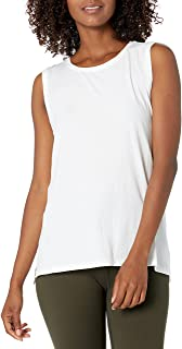 Core 10 Suave algodón Pima elástico Cobertura Completa Yoga sin Mangas Tank Camiseta de Yoga para Mujer
