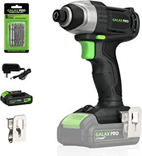 "GALAX PRO 20 V Lithium Ion 1/4"" Hex Cordless Impact Driver with LED Work Light, 6 Pieces Screwdriver Bits, Variable Speed (0-2800 RPM)- 1.3 Ah Battery and Charger Included"