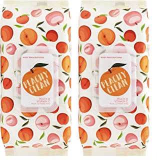 Body Prescriptions Peachy Clean Face Wipes & Makeup Remover Wipes - 2 Pack (60 Count Each) of Gentle Facial Towelettes – Flip Top Pack (Peach & Vitamin C)